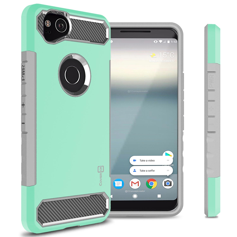 CoverON Google Pixel 2 Case, Arc Series Hybrid Phone Cover with Carbon Fiber Accents