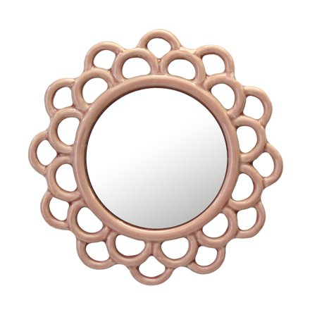 Stonebriar Decorative Round Pink Dusty Rose Cutout Ceramic Wall Hanging Mirror