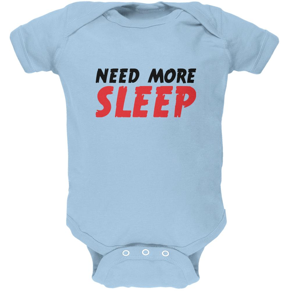 Need More Sleep Light Blue Soft Baby One Piece