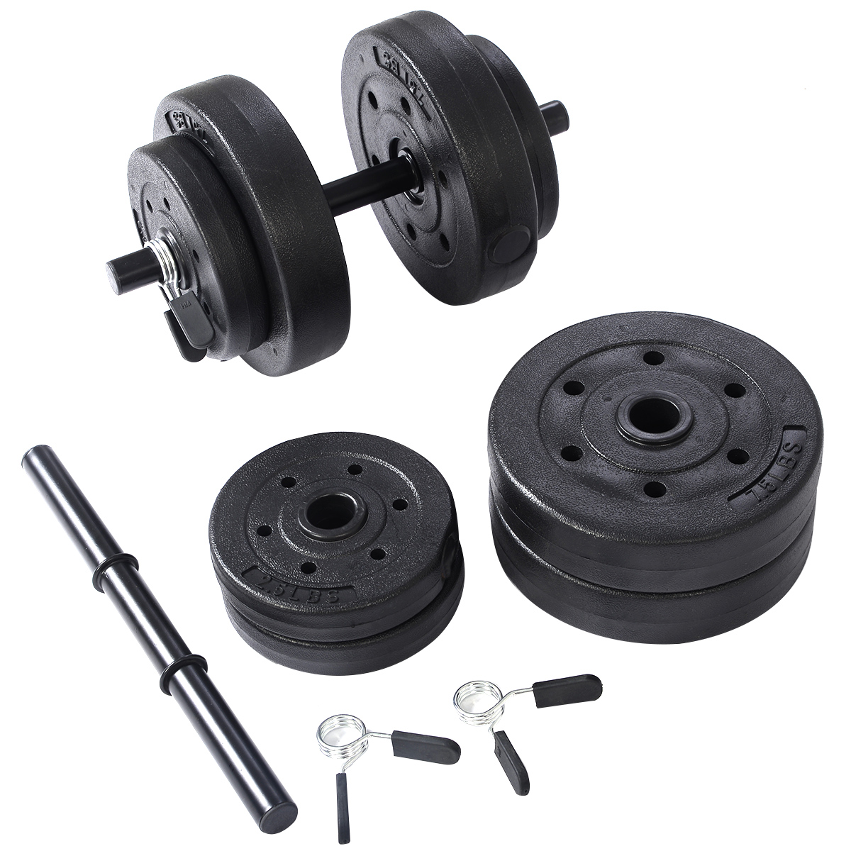 Costway Weight Dumbell Set 40 LB Adjustable Cap Gym Barbell Plates Body Workout
