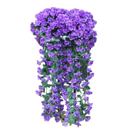 Hanging Flowers Artificial Violet Flower Wall Wisteria Basket Hanging Garland Vine Flowers Fake Silk Orchid ()