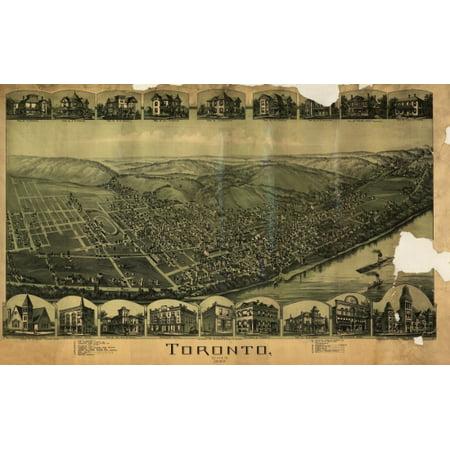 Old Map of Toronto Ohio 1899 Jefferson County Canvas Art -  (24 x 36) ()
