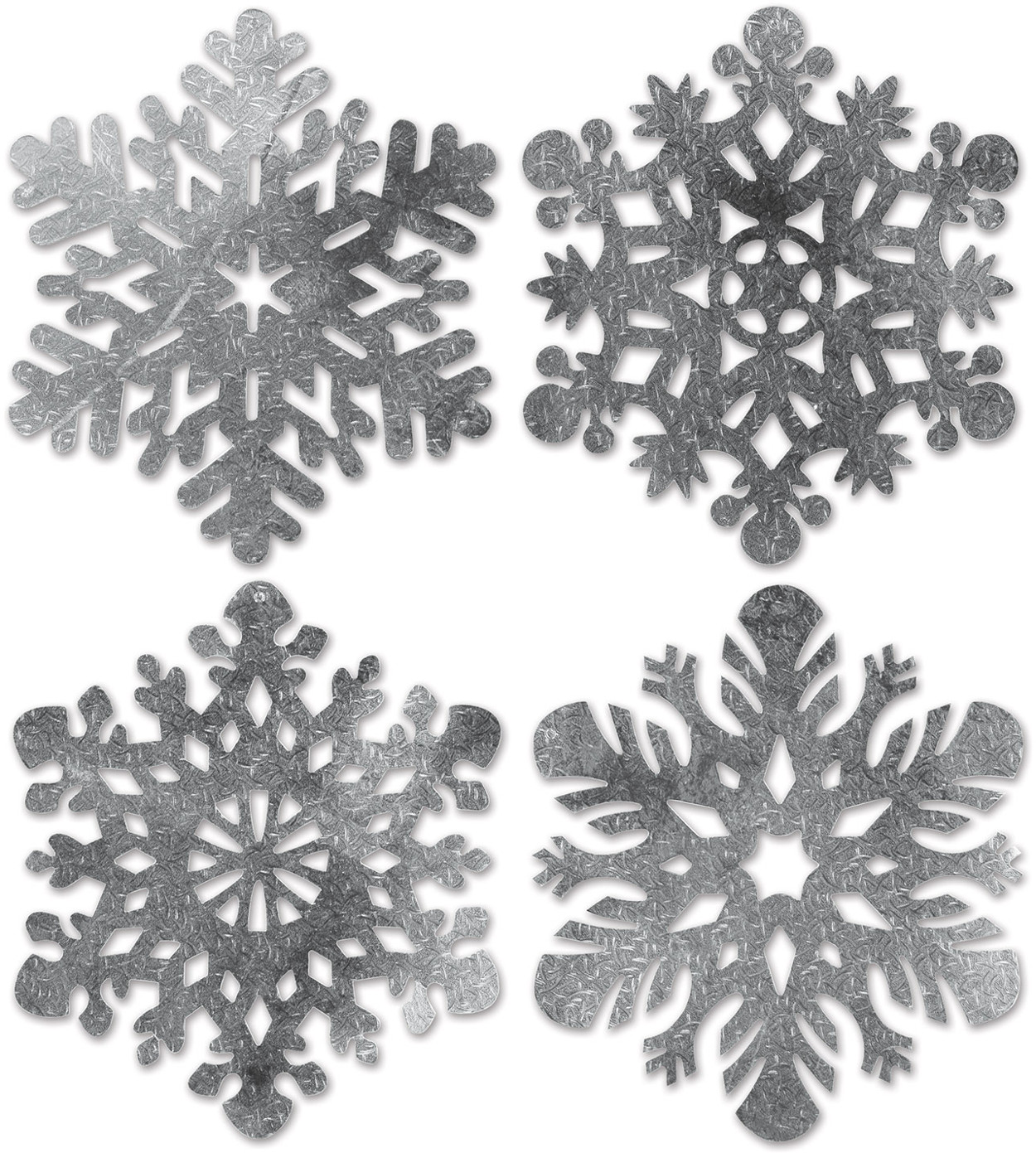Set Of 4 Foil Snowflake Cutouts Holiday Party Decorations 13-16""