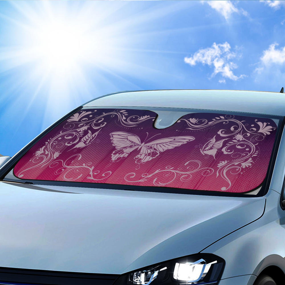 BDK Swirl Butterfly SunShade, Mystic Butterflies, Folding Accordion with Static Cling Auto Shade