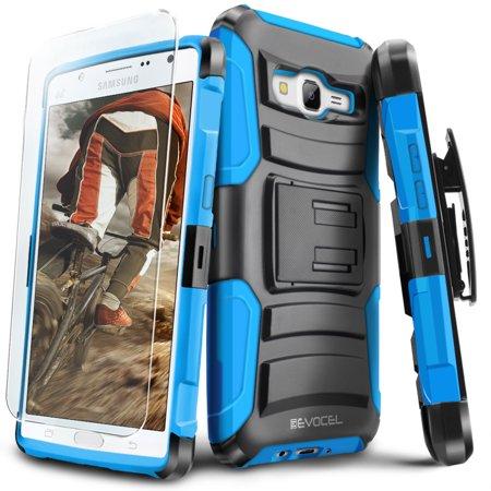 Galaxy J7 (2015) Case, Evocel [Belt Clip Holster] [Kickstand] [HD Screen Protector] [Dual Layer] Generation Series Phone Case for Samsung Galaxy J7 (J700), Blue