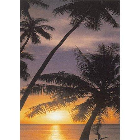 Days End By Doug Cavanaugh 36X24 Art Print Poster Tropical Poster Sunset Ocean Beach Paradise Palm Trees