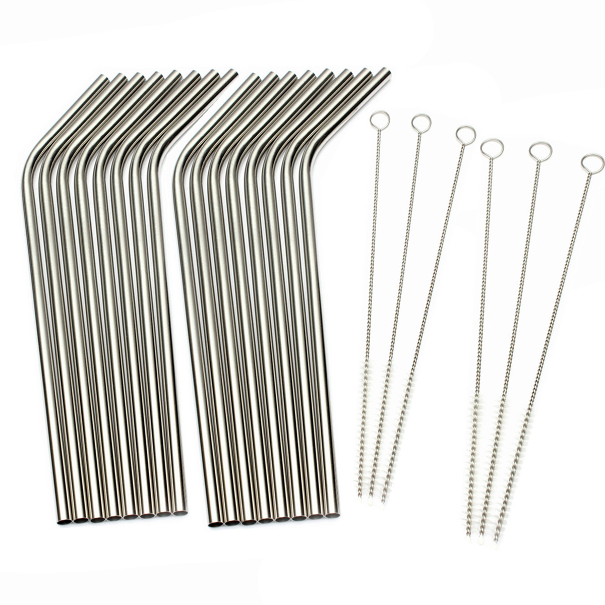 16 Bend LONG Stainless Steel Drink Straws + 6 Cleaning Brush Kit Drinking Straw Metal Washable Reusable NON-TOXIC Unbreakable