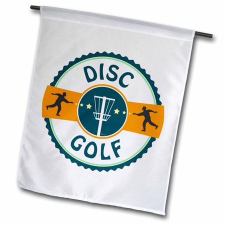 Image of 3dRose Disc Golf - silhouette of putters throwing at a disc golf basket - Garden Flag, 12 by 18-inch