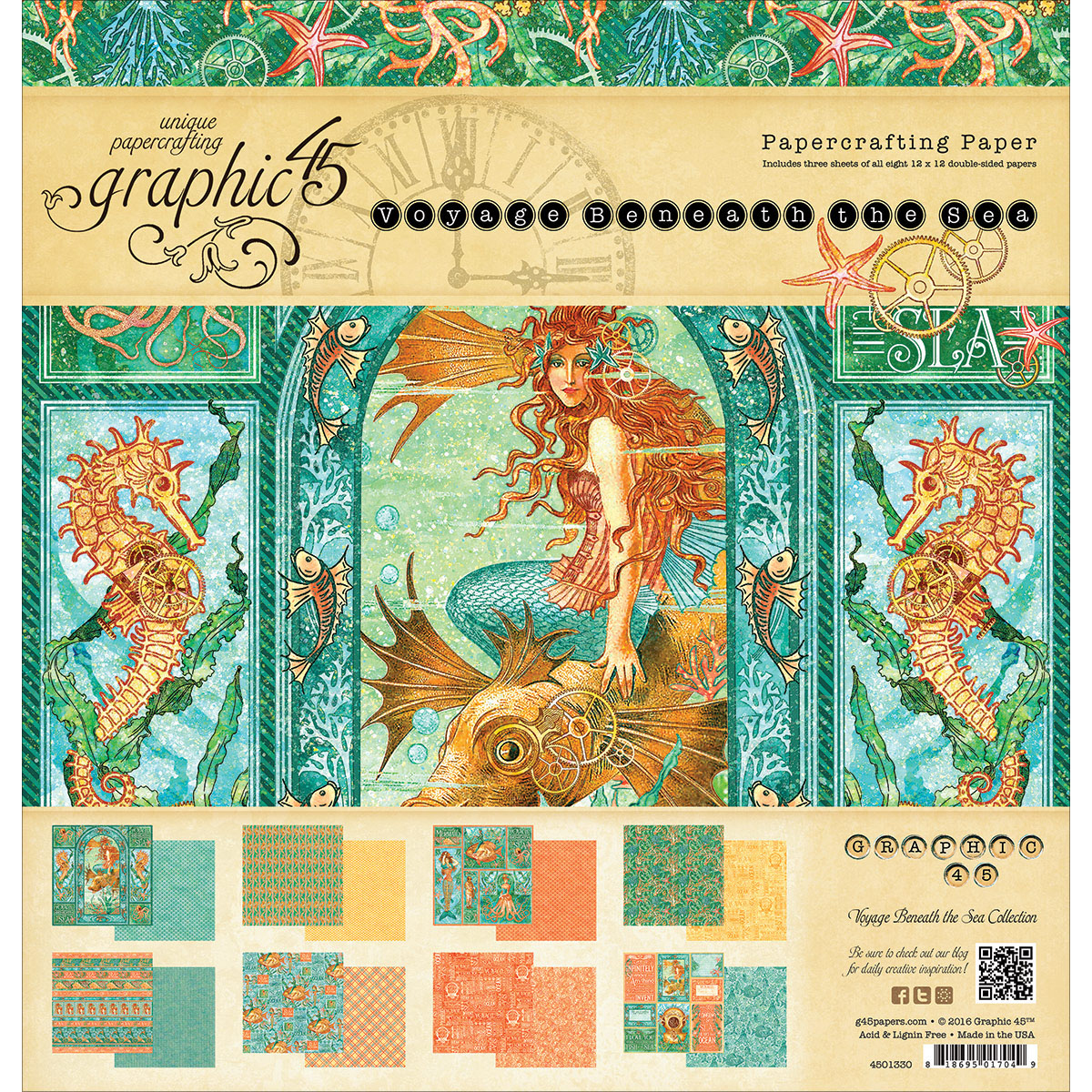 "Graphic 45 Double-Sided Paper Pad, 12"" x 12"", 24pk, Voyage Beneath The Sea, 8 Designs, 3 Each"