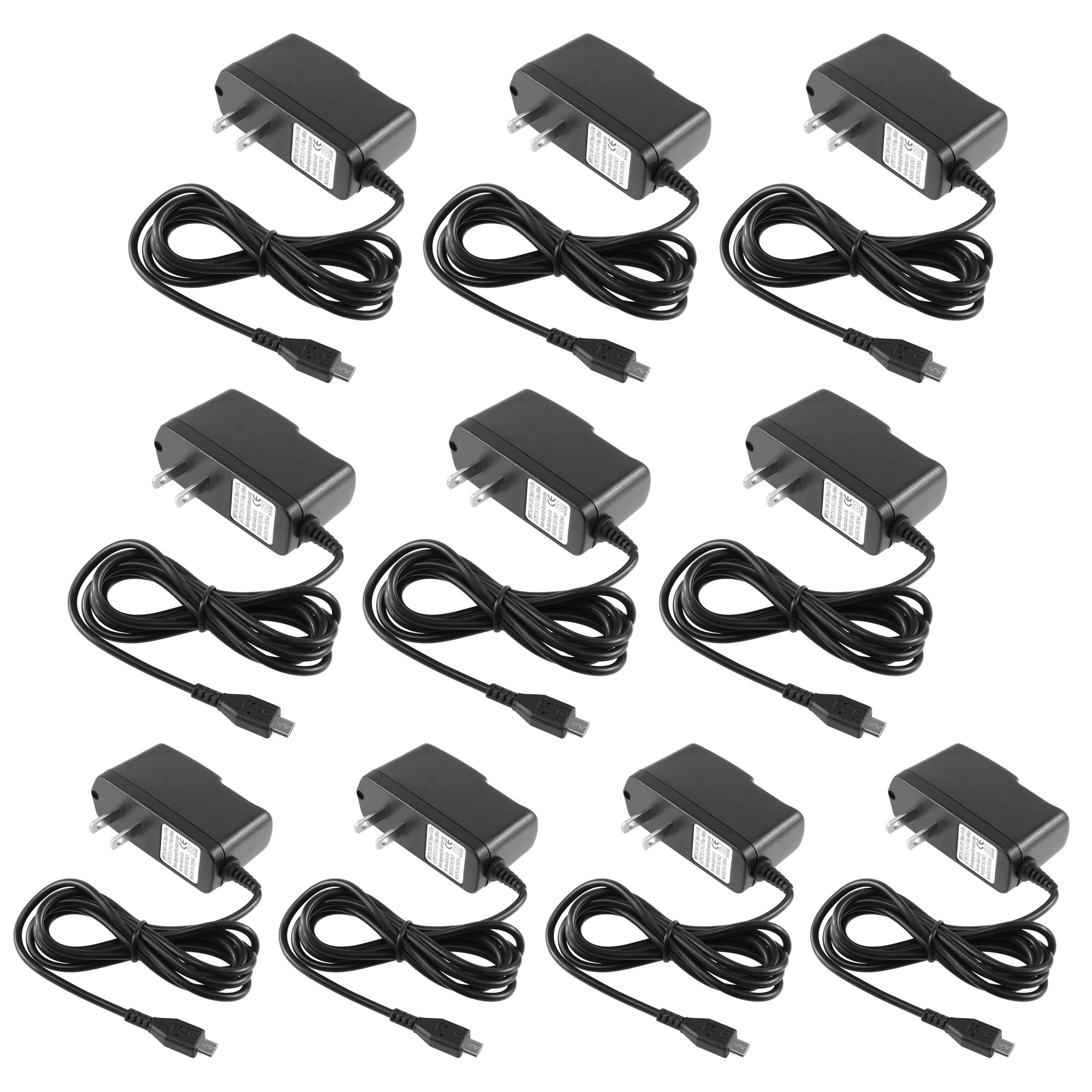 Micro USB Charger by Insten 10-pack Micro USB Home Wall Travel AC Charger For Android Smartphone Samsung HTC LG Motorola Blackberry Huawei ZTE Coolpad Nokia Andriod Cell Phone Mobile Universal