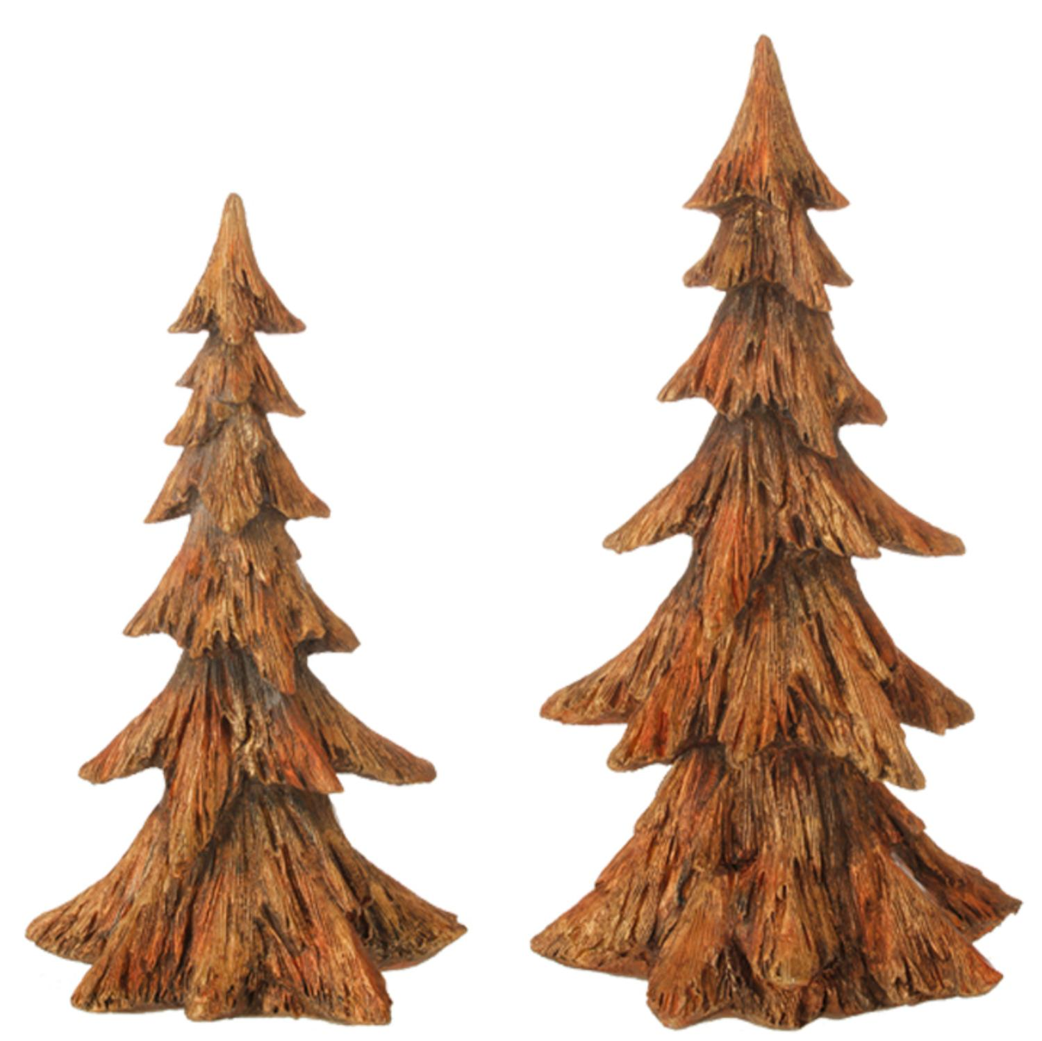 Set of 2 Golden Brown Pine Tree Christmas Table Top Decoration 15.25