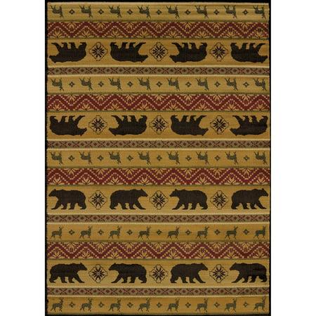 United Weavers Essence Mountain Bear Spice Multi Woven Polypropylene Area Rug