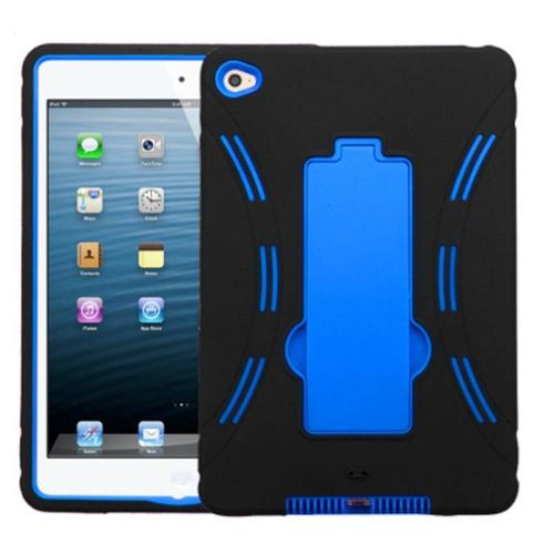 Insten For Apple iPad Mini 4 Hybrid Dual Layer PC/Silicone Rugged Case Cover with Kickstand Impact Resistant Black/Blue