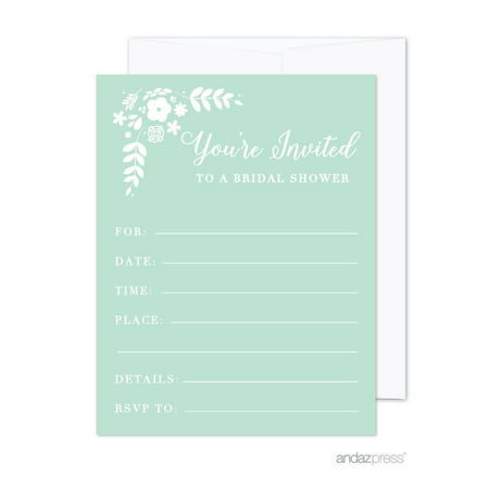 floral mint green wedding blank bridal shower invitations with envelopes 20 pack
