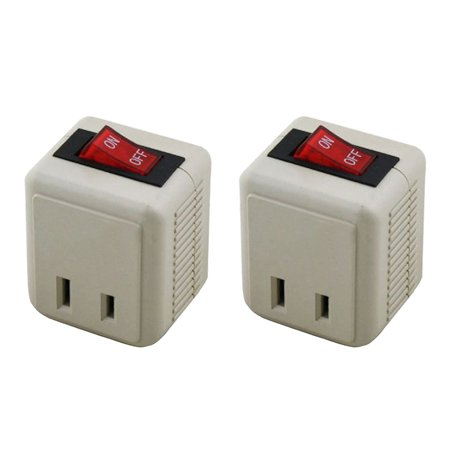 01 Plug Prong - (2-Pack) Uninex Wall Tap Outlet W/Turn ON/OFF Switch Power Adapter 2 prong Plug Without Unplugging Cords ETL