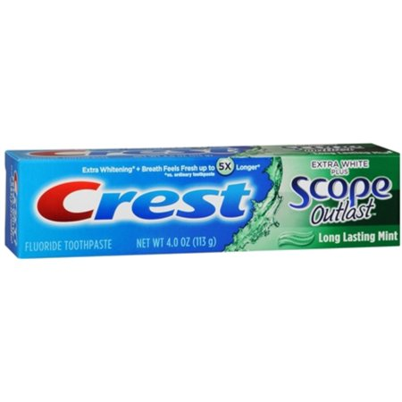 Extra White Plus Scope Mint - Crest Extra White Plus Scope Outlast Toothpaste, Long Lasting Mint 4 oz (Pack of 3)