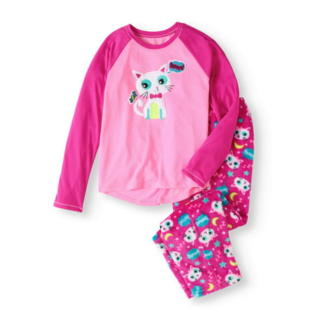 fb64ecb61b Cayre - Girls  2 Piece Cozy Graphic Top And Printed Pant Sleepwear Set -  Walmart.com