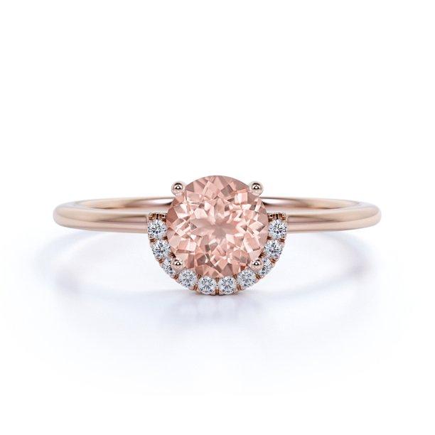 Jeenmata Simple 0 75 Ct Round Pink Morganite Diamond Antique Halo Promise Ring In 10k Rose Gold Walmart Com Walmart Com