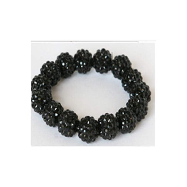 Zirconmania 646B-95X103BK Crystal Fireball Acrylic Stretch Bracelet -Jet Black