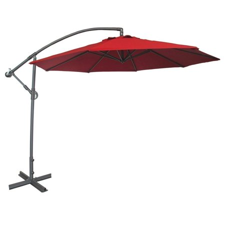 Abba Patio 10-Ft Offset Cantilever Hanging Patio Umbrella with Base, Easy Crank Operation, 8 Ribs, Air Vented Top, Red ()