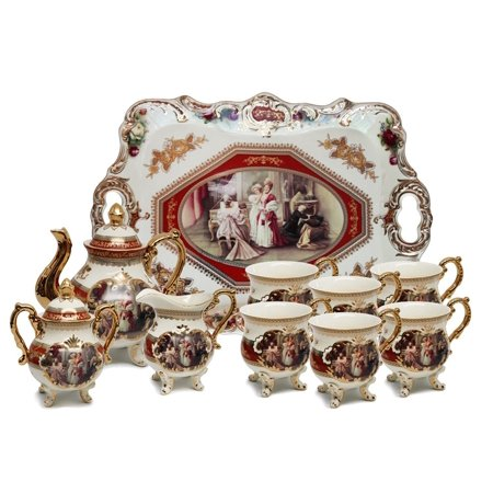 Hand Decorated Bone China - Euro Porcelain 12-pc. Vintage Tea Coffee Cup Set w/Serving Tray, 24 kt Gold Plated Red Antique