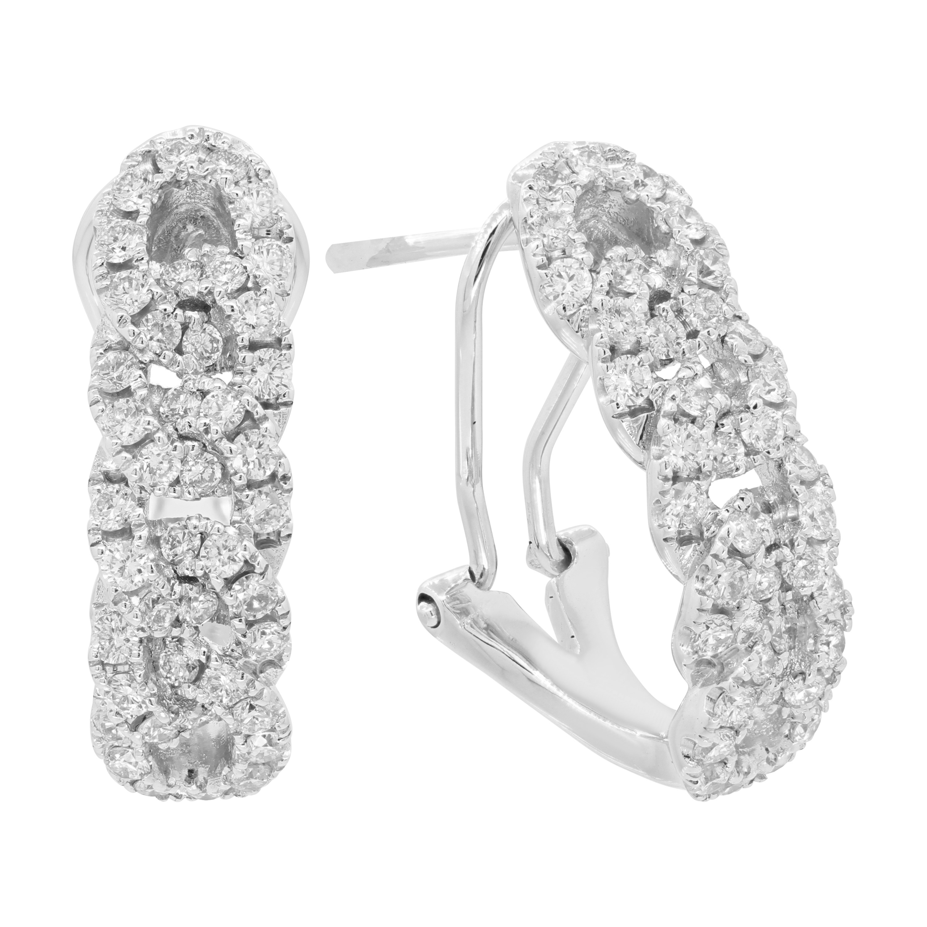 LONDON FINE JEWELRY 14K WHITE GOLD 0.98 CWT OVER-LAP EARRINGS