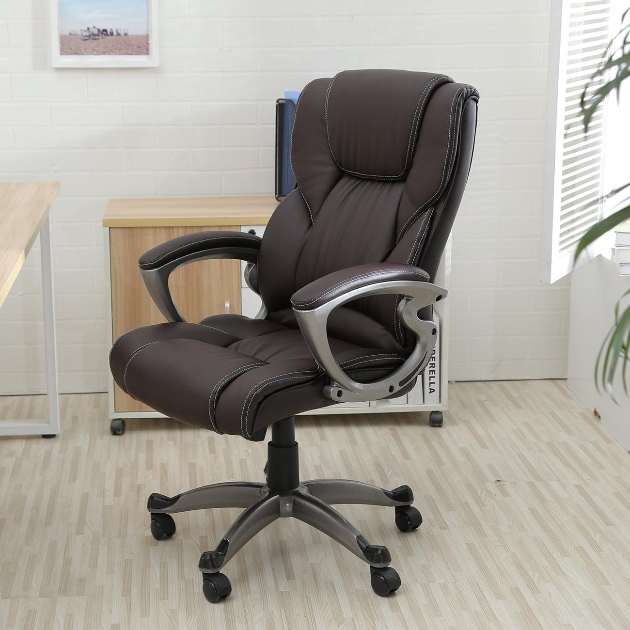 Cool Belleze Executive High Back Leather Chair Desk Comuter Task Room Brown Walmart Com Theyellowbook Wood Chair Design Ideas Theyellowbookinfo