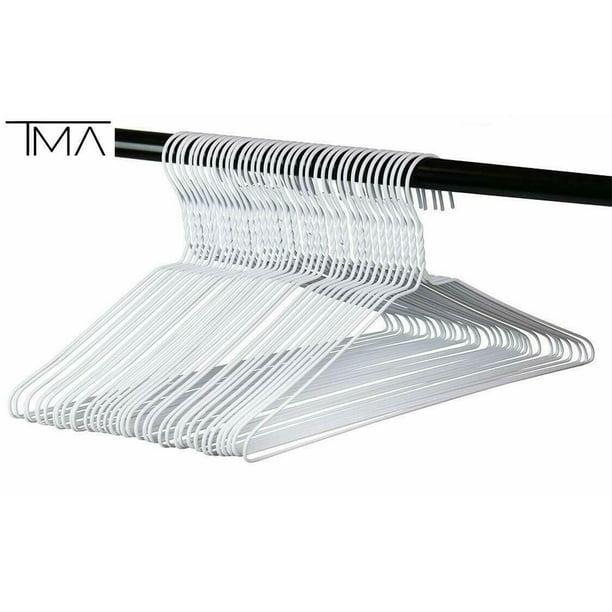 Tma Metal Wire Hangers In Bulk White Shirt Hangers 18 100 Count Walmart Com Walmart Com