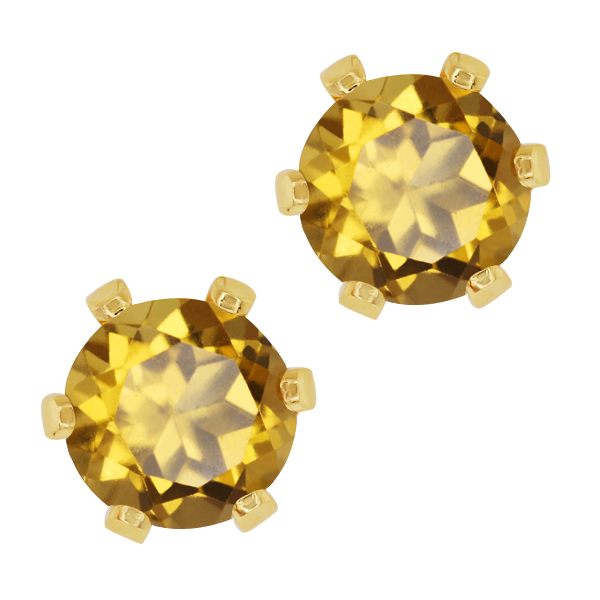 1.60 Ct Round Champagne Quartz Gold Plated 6-prong Stud Earrings 6mm