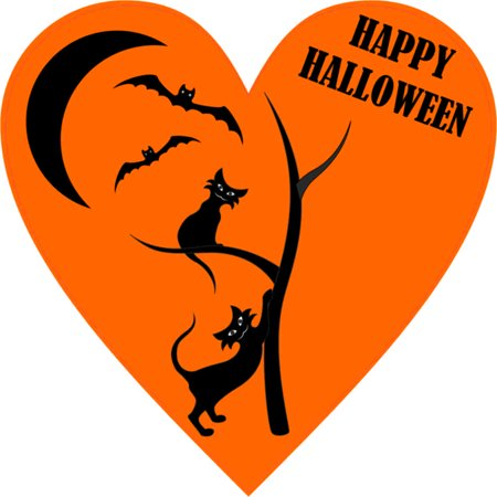 4in x 4in Happy Halloween Heart Sticker Vinyl Car Decal Bumper Stickers