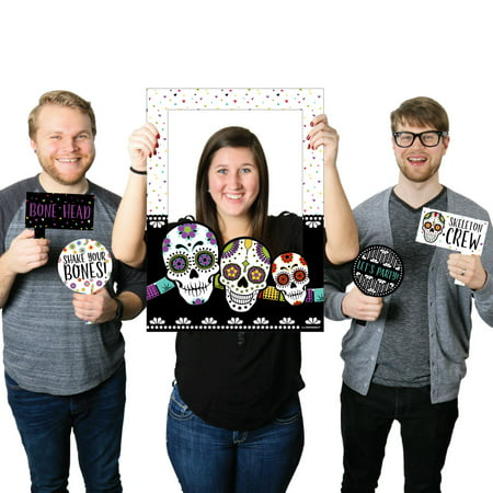 Day Of The Dead - Halloween Sugar Skull Party Selfie Photo Booth Picture Frame & Props - Printed on Sturdy Material](Halloween Selfie)