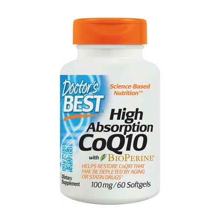Doctor's Best High Absorption CoQ10 with BioPerine, Gluten Free, Naturally Fermented, Heart Health and Energy Production, 100 mg, 60