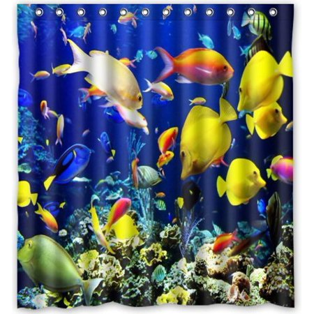 GreenDecor Coral Reef Coral Fish Sea Life Soft Waterproof Shower Curtain Set with Hooks Bathroom Accessories Size 66x72 inches