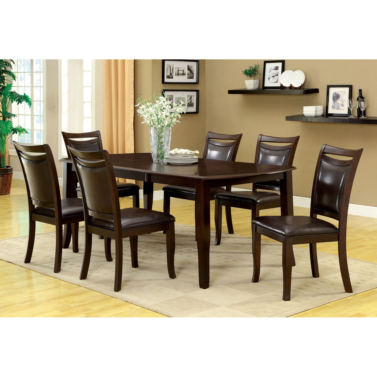 Furniture Of America Precance 7 Piece Dining Table Set Espresso