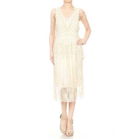 2 PCS Summer Womens Vintage Lace Gatsby 1920s Cocktail Dress with Crochet Vest (Buy 1920's Dresses Online)