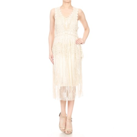 2 PCS Summer Womens Vintage Lace Gatsby 1920s Cocktail Dress with Crochet Vest - Great Gatsby Attire For Women
