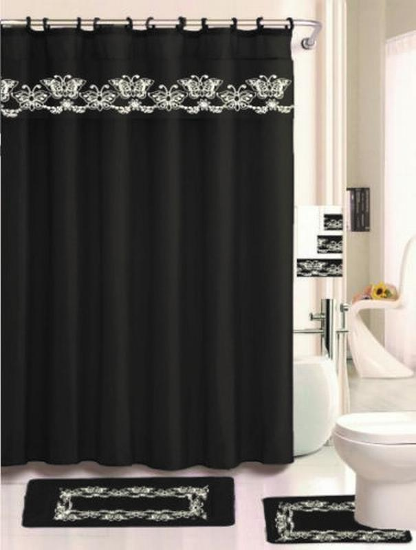 Barbra Black And Silver Butterfly Design 18 Piece Set Includes One Fabric  Shower Curtain, 2