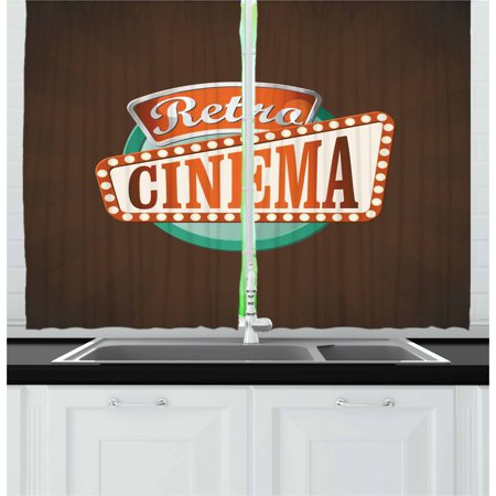 Movie Theater Curtains 2 Panels Set, Retro Style Cinema Sign Design Film Festival Hollywood Theme, Window Drapes for Living Room Bedroom, 55W X 39L Inches, Brown Turquoise Vermilion, by Ambesonne - Hollywood Theme Bedroom