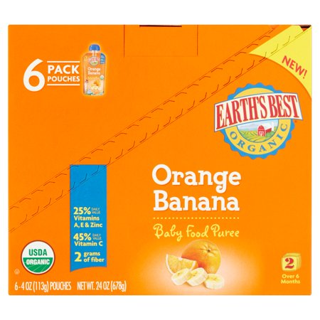 Earths Best Organic Orange Banana Baby Food Puree 2 Over 6 Months  4 Oz  6 Count