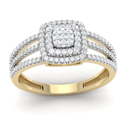 10K Yellow Gold 0.50 Ct Round Cut Natural Diamond Double Halo Engagement Ring I2