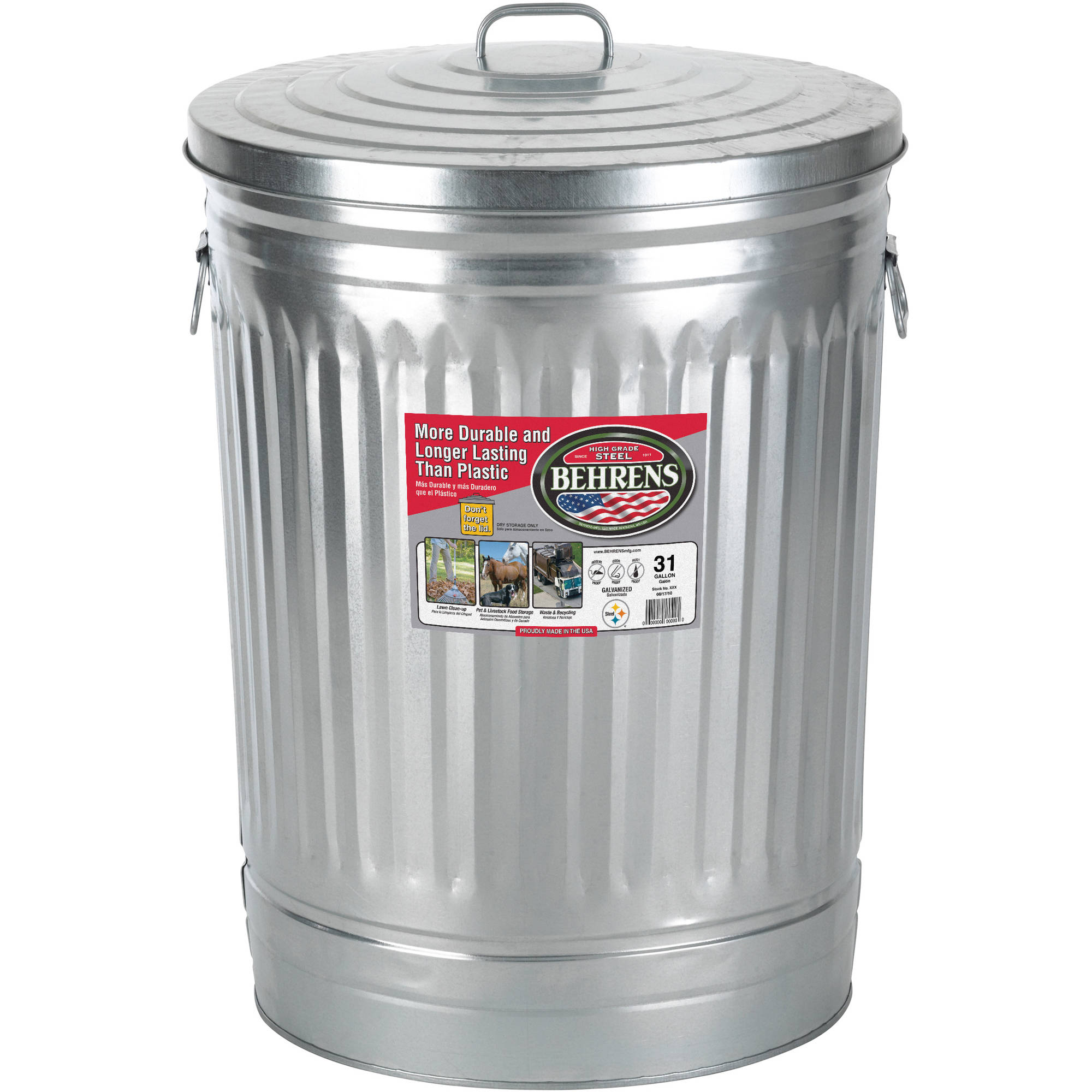 Behrens 31 Gallon Steel Trash Can. Galvanized Trash Cans