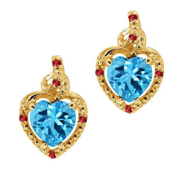 2.08 Ct Heart Shape Swiss Blue Topaz Red Garnet 14K Yellow Gold Earrings
