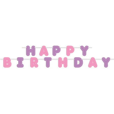 Happy Birthday Banner, 9 ft, Purple and Pink, 1ct - Curious George Birthday Banner