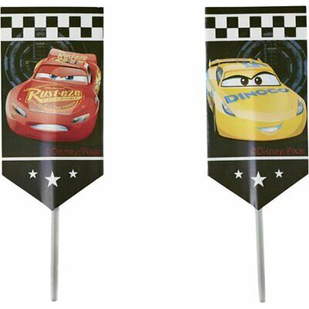 Disney Pixar Cars 3 Fun Picks Cupcake Toppers - 24 Count - 2113-7110 - National Cake Supply (Disney Cars Cupcake Toppers)