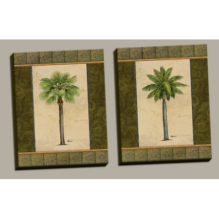 2 East Indies Palm Tree Art Prints Tropical Home Decor; Two 11x14in Hand-Stretched Canvases, Ready to Hang! - Tropical Decor