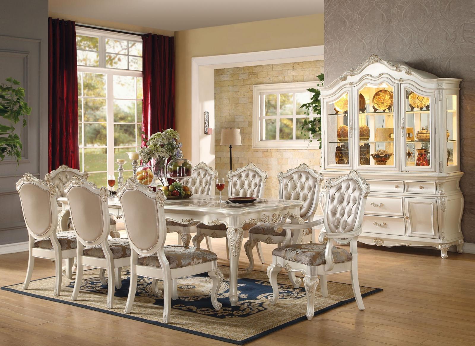 Marble & Pearl White Dining Room Set 5Pcs Acme Furniture 63540 Chantelle - Walmart.com - Walmart.com