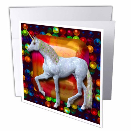 3dRose White Unicorn with flowers in her mane pretty jewel and colorful bubbles background, Greeting Cards, 6 x 6 inches, set of 6 ()