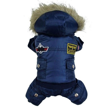 USA Air Force Design Pet Puppy Coat Jacket for Small / Medium / Large Dogs, Waterproof Warm Jumpsuits Cloth Hoody Costume Apparel Hoodies Jackets Pet Dog Clothes for Cold Winter (Large Dog Dinosaur Costume)