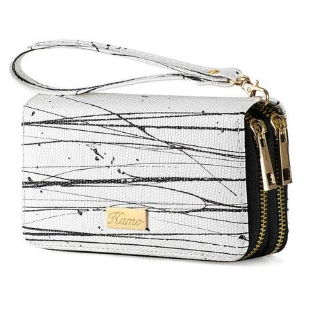Wallet for Women Zip Around Phone Wallet Clutch Wristlet Travel Long Purse for Women Lady Girl 6.9×3.5(Double Zipper)