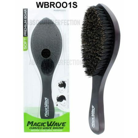 Curve Brush (Black Ice Magic Wave 9.25'' Curved Wave Handle Barber Brush Soft Premium)